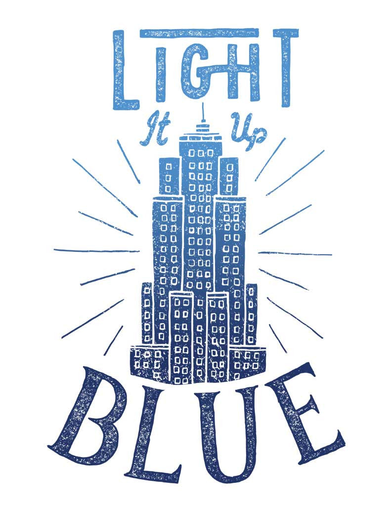 Light It Up Blue Triblend Short Sleeve Tee