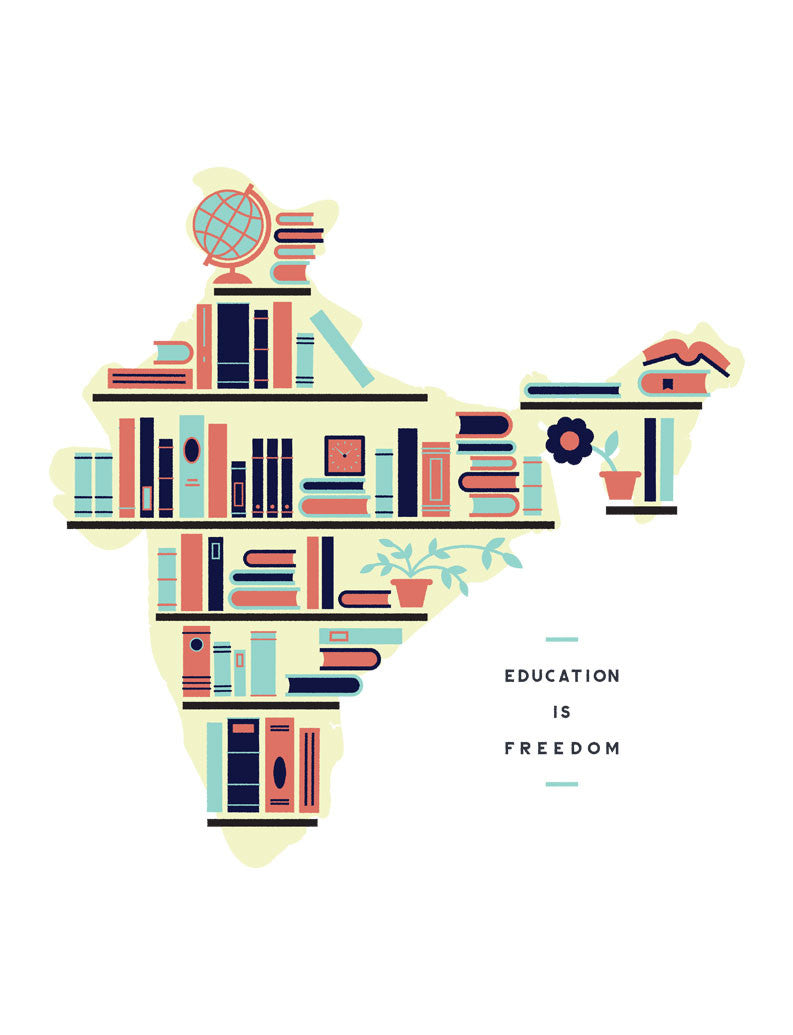 Education Is Freedom India Flowy V Neck