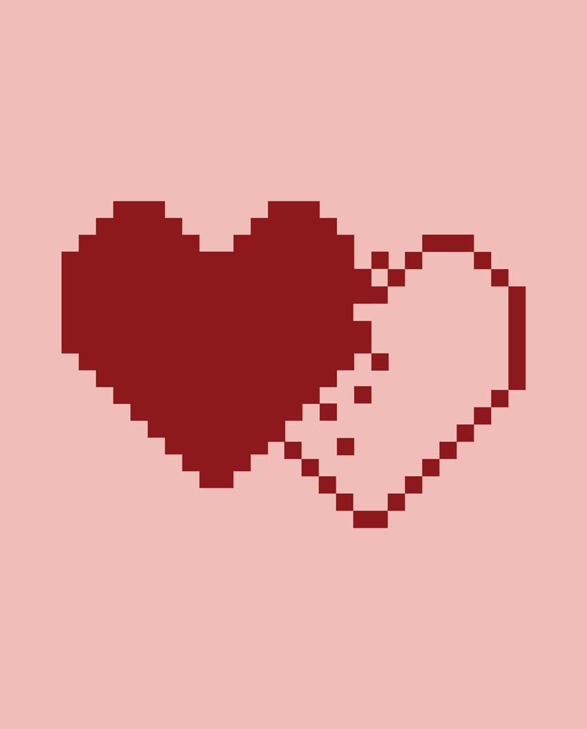 Pixel Heart Flowy V Neck