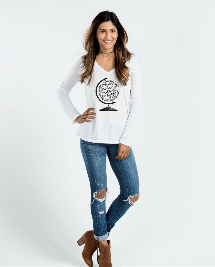 Be The Change Flowy Long Sleeve V-Neck