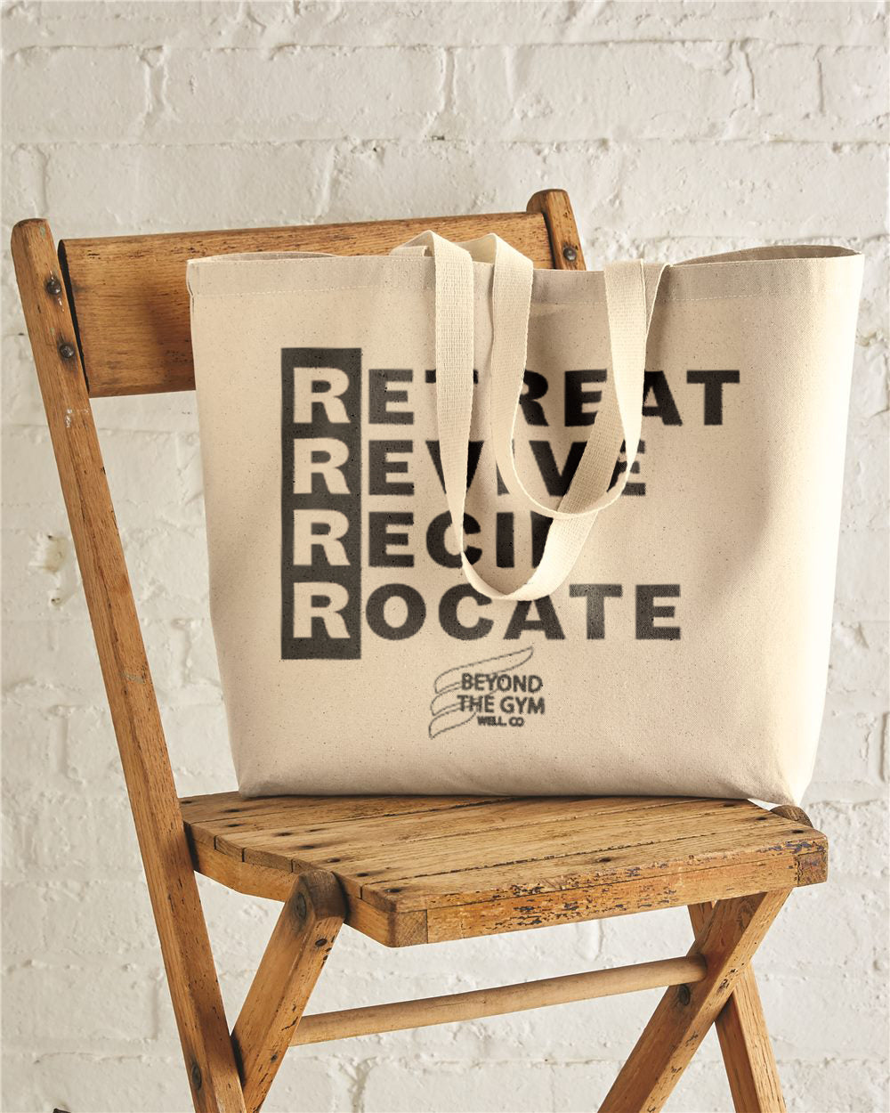 Retreat Revive Reciprocate Beyond The Gym Well Co. Jumbo Cotton Canvas Tote Bag