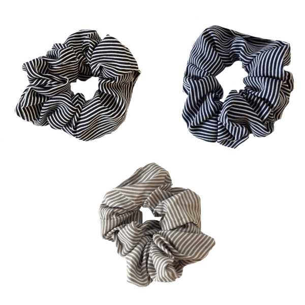 Navy, Black, Taupe Striped Scrunchies Set by Headbands of Hope