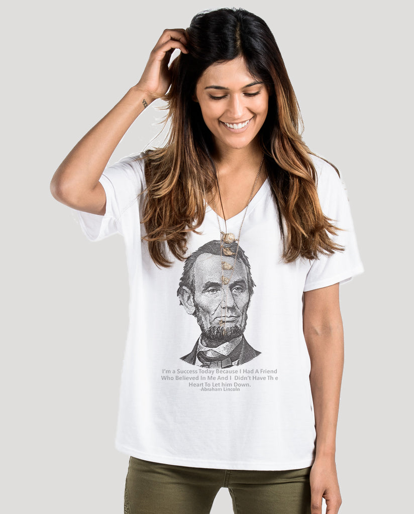 Abraham Lincoln Success Quote Women's White Flowy Vneck