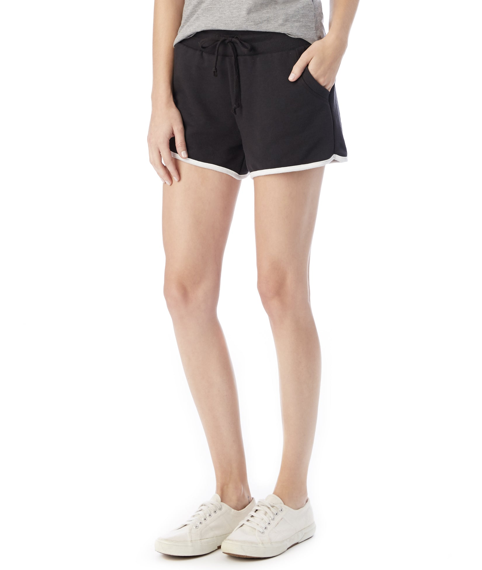 Women's Black French-Terry Classic Drawstring Shorts