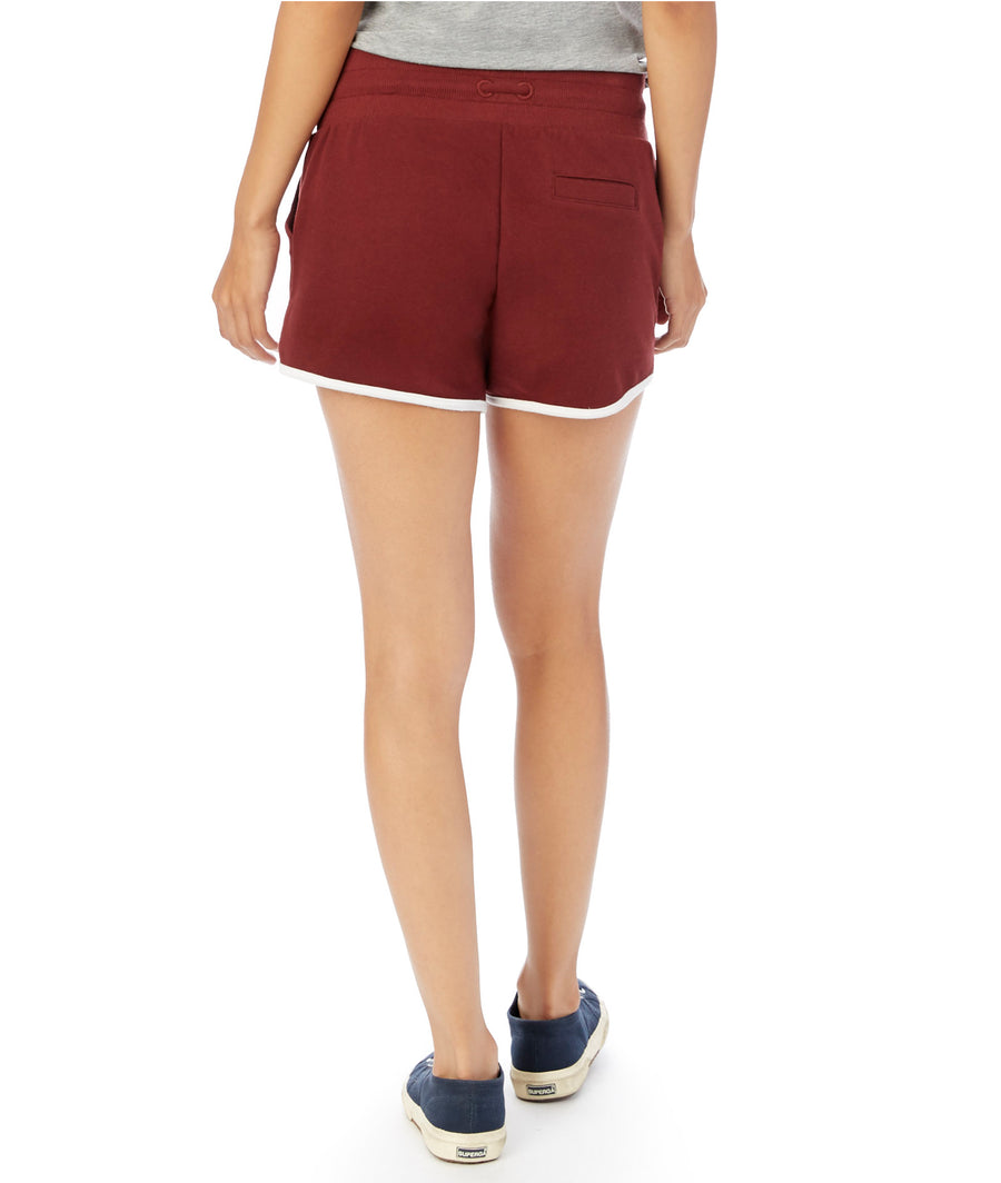 Women's Maroon French-Terry Classic Drawstring Shorts