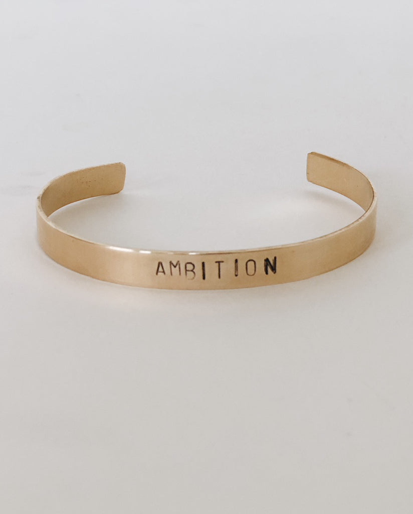 AMBITION Hand-Stamped Brass Cuff