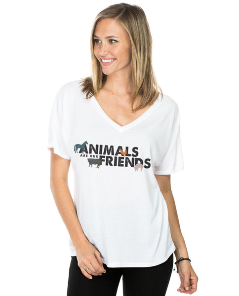 Animals Are Our Friends Flowy V Neck