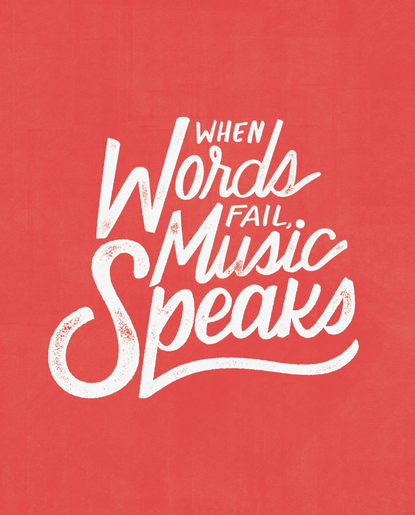 SEVENLY  HOME GOODS - COTTON CANVAS DOWN THROW PILLOW - WHEN WORDS FAIL MUSIC SPEAKS