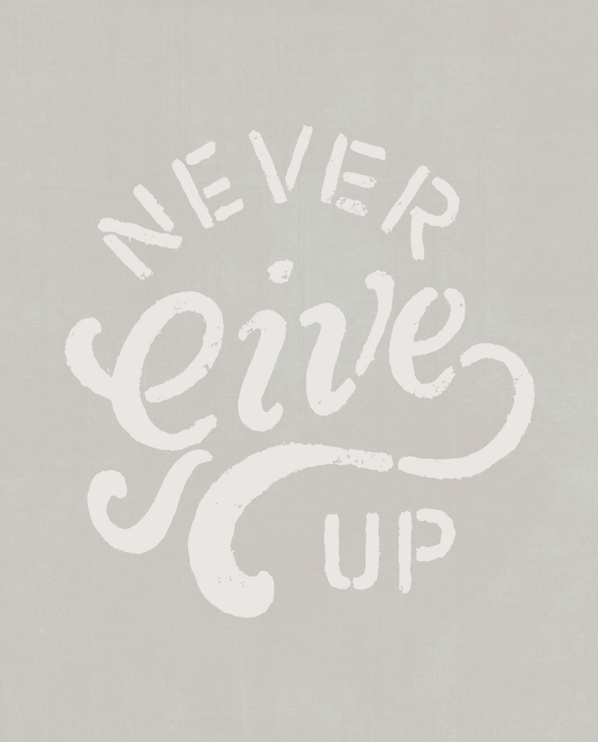 Never Give Up Flowy V Neck Blue Triblend