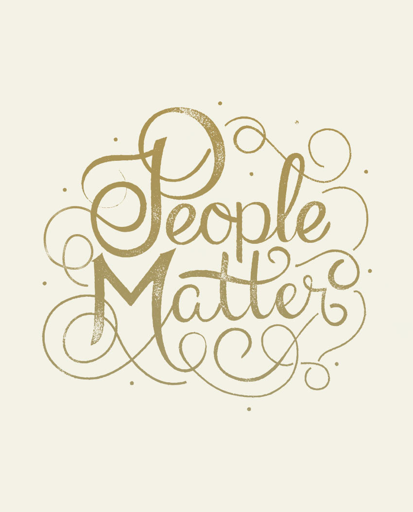 People Matter Script Mens Baseball Tee