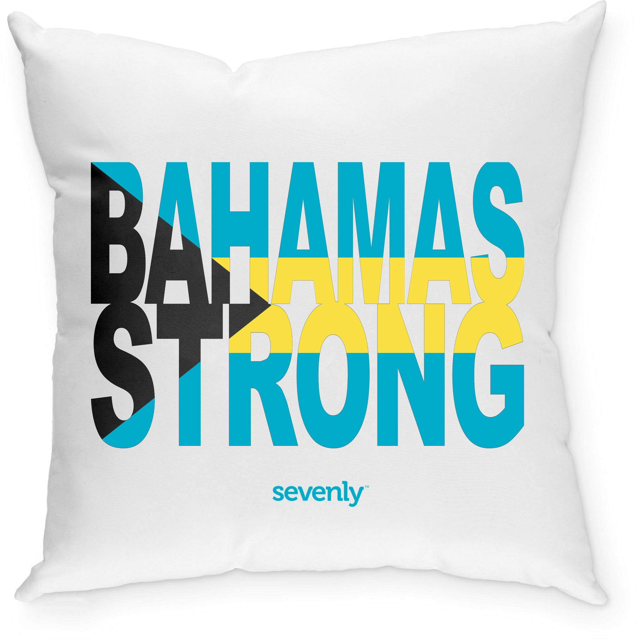 SEVENLY HOME GOODS - COTTON CANVAS THROW PILLOW - BAHAMAS STRONG FLAG