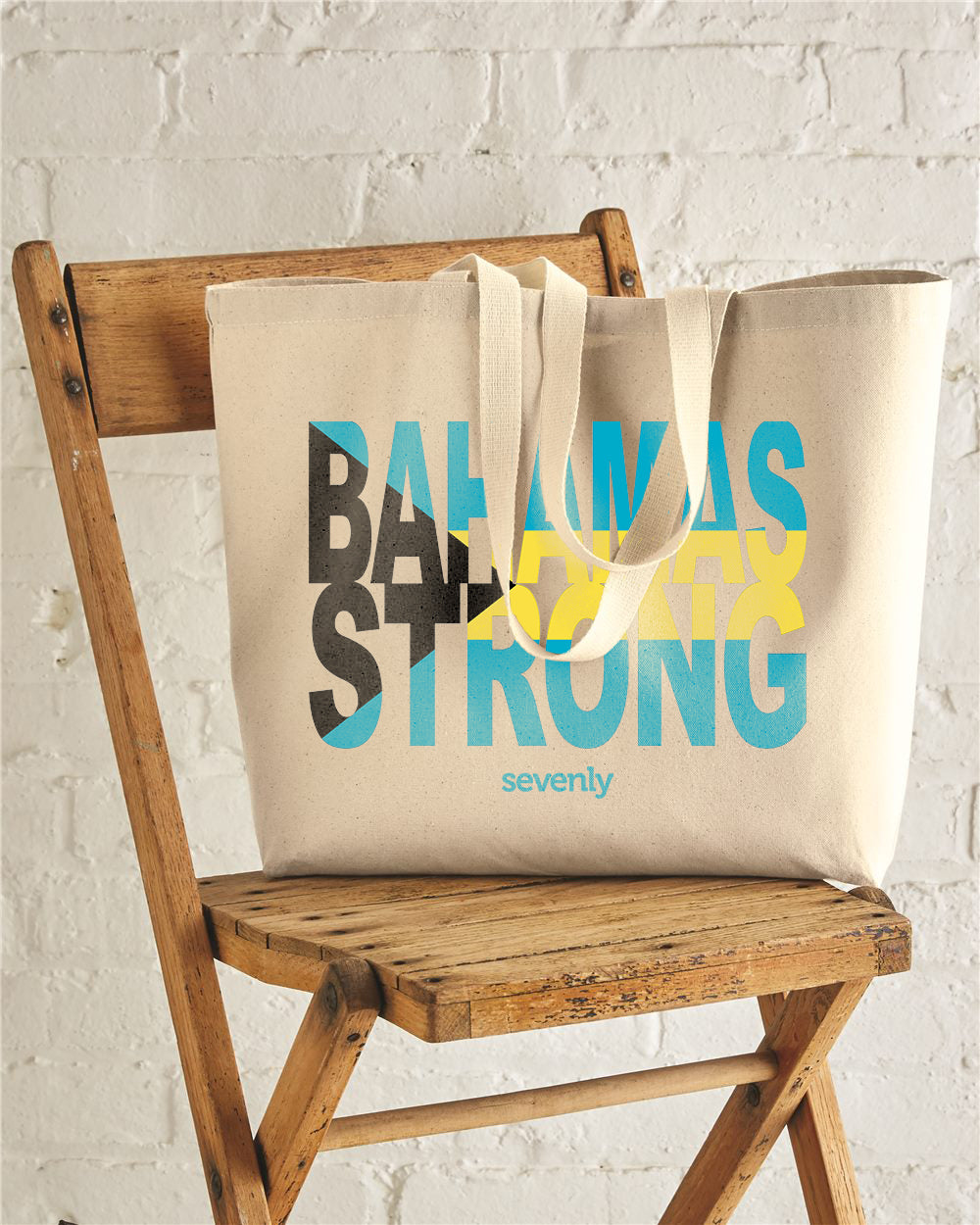 Bahamas Strong Flag Jumbo Cotton Canvas Tote Bag