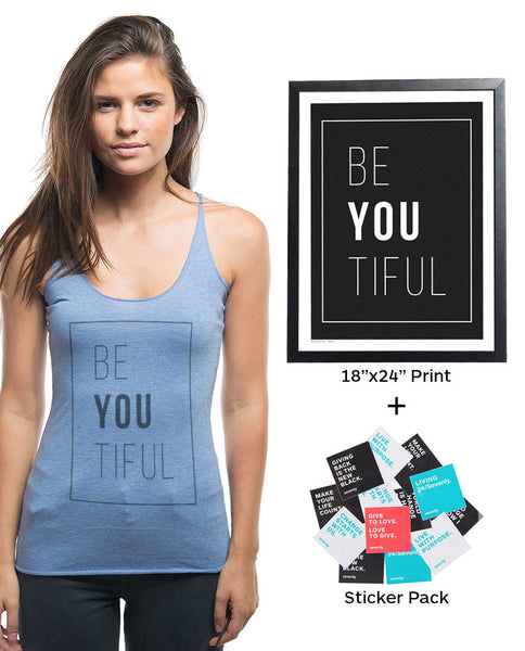 Be YOU tiful Racerback Tank + 'Be YOU tiful' poster + sticker pack