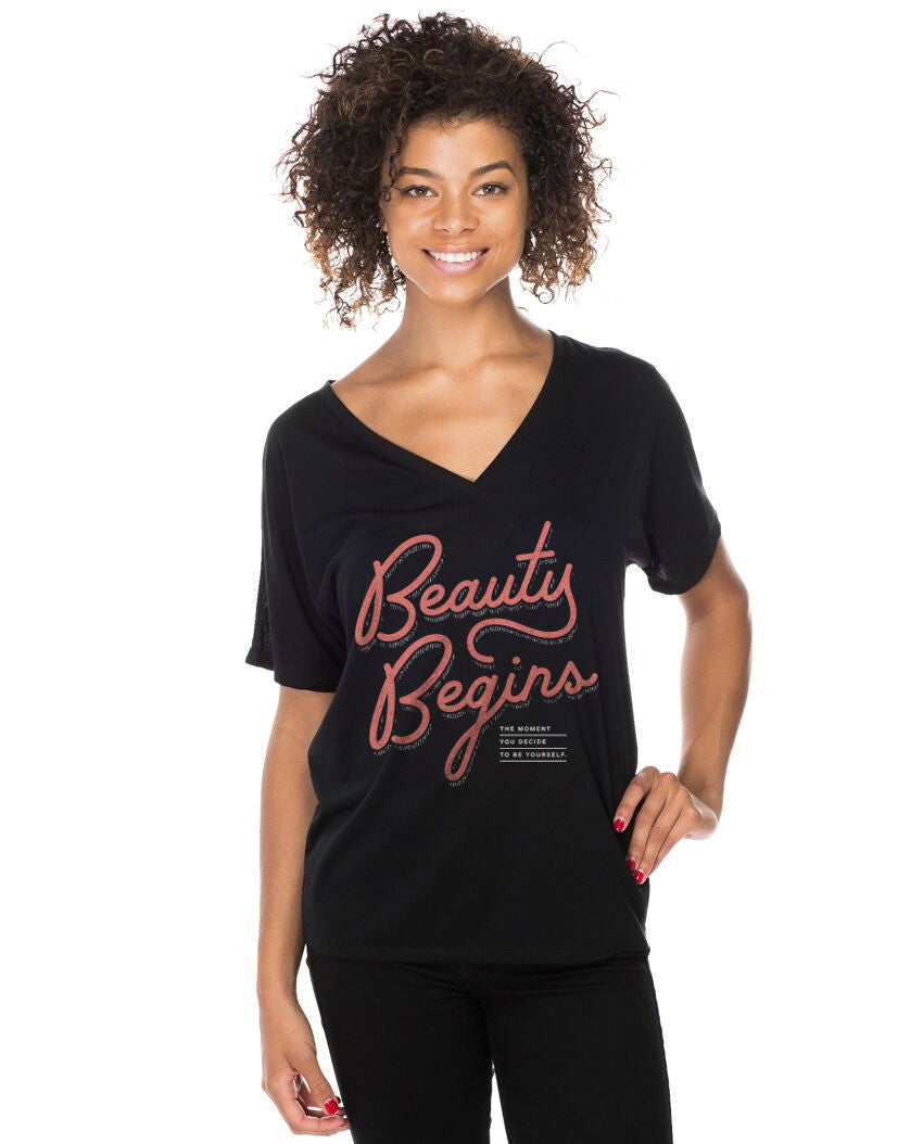 Beauty Begins Flowy V Neck