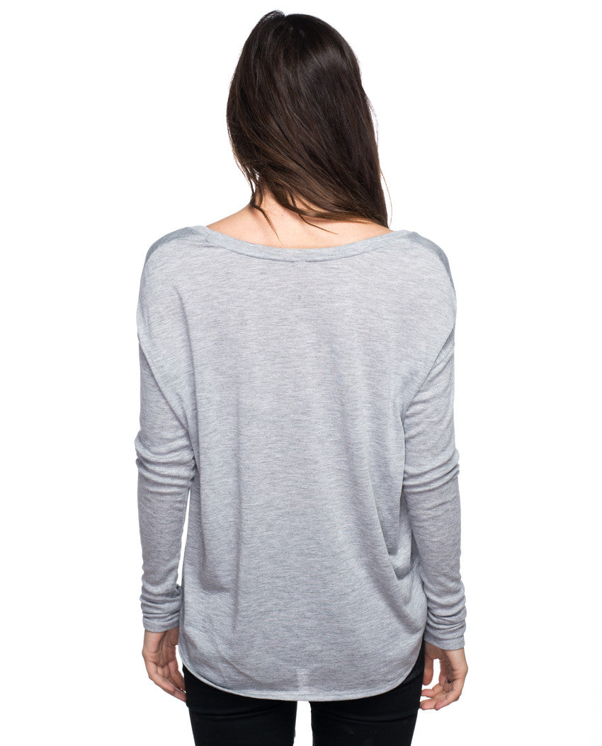 CHANGE A SMILE CHANGE THE WORLD Women's Grey Flowy Long Sleeve