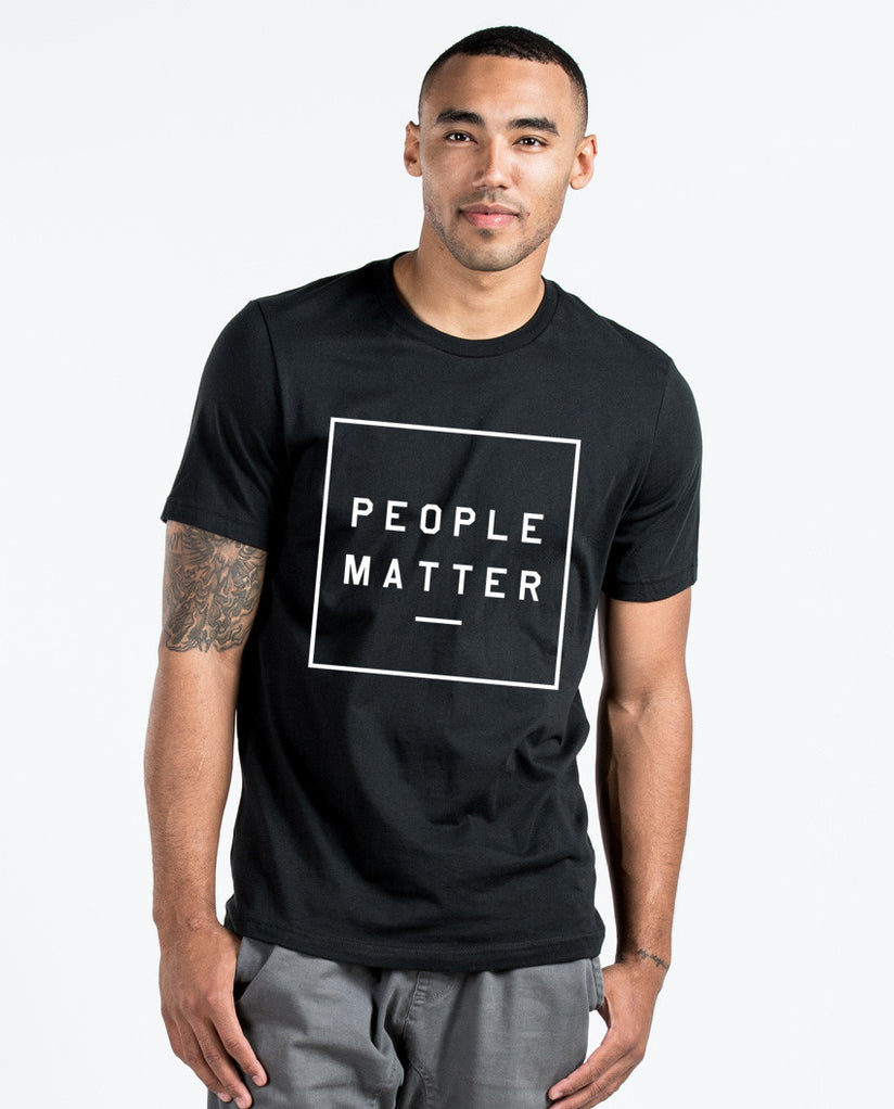 PEOPLE MATTER UNITE Mens Black Premium Fitted Tee