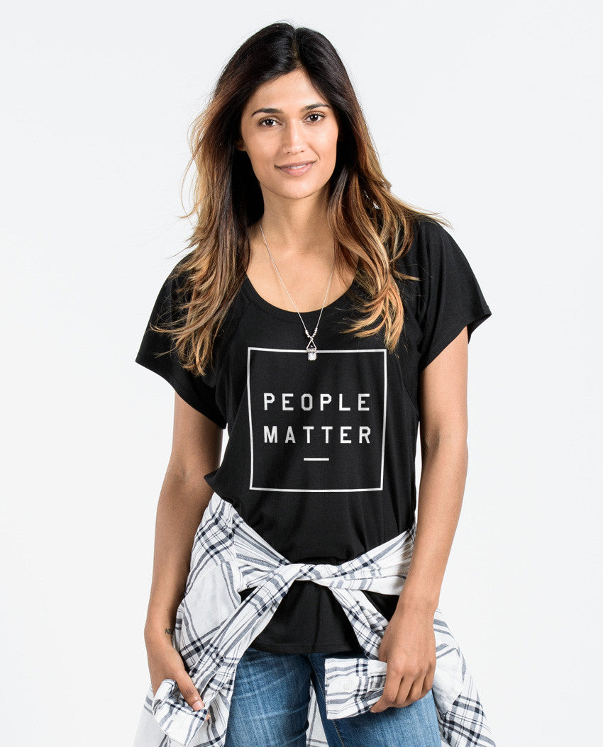 PEOPLE MATTER UNITE Womens Black Flowy Raglan
