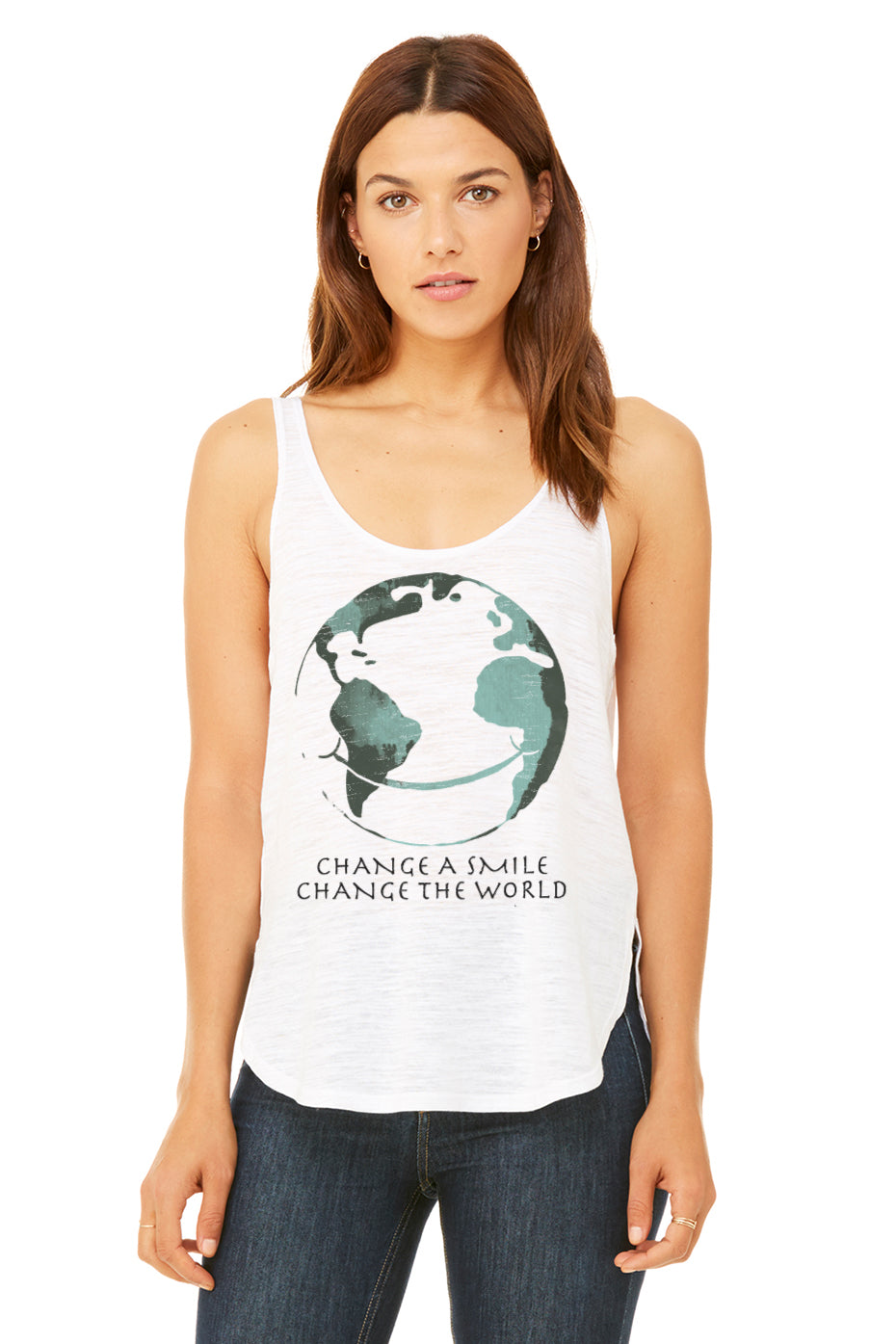 Change A Smile Change The World Women's Premium Side Split Flowy Tank