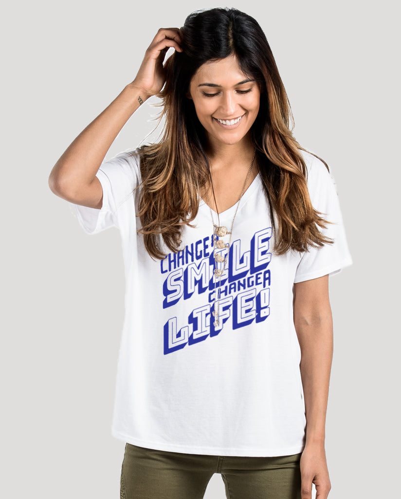 Change A Smile Change A Life Women's White Premium Slouchy Short Sleeve V-Neck Tee
