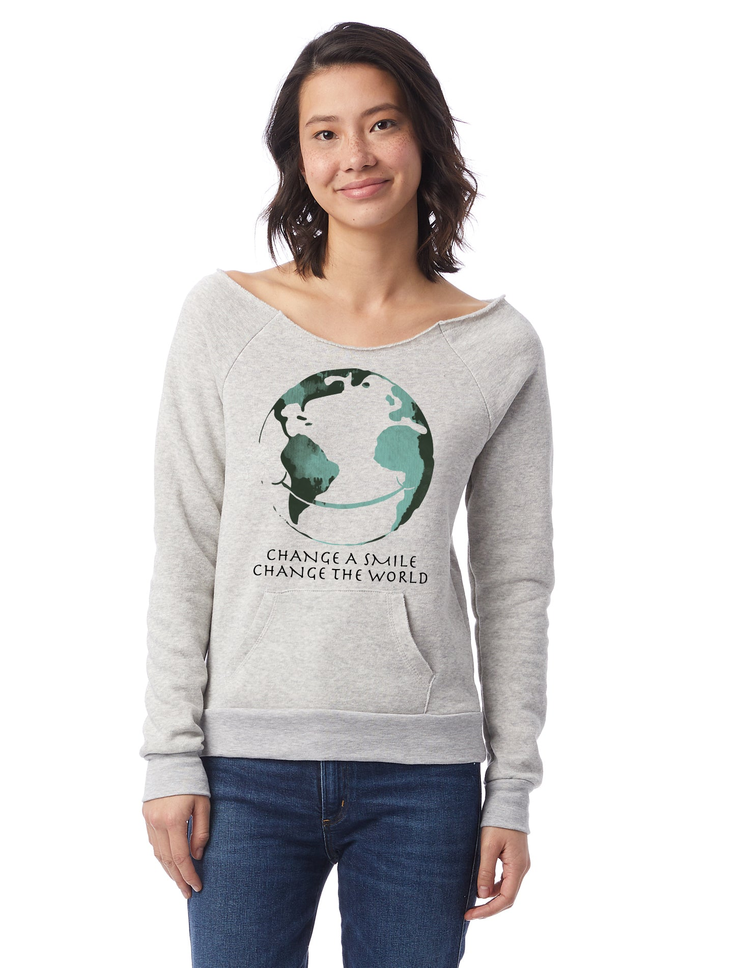 Change A Smile Change The World Womens Triblend Slouchy Sweatshirt With Front Pocket And Raw Edge Neck