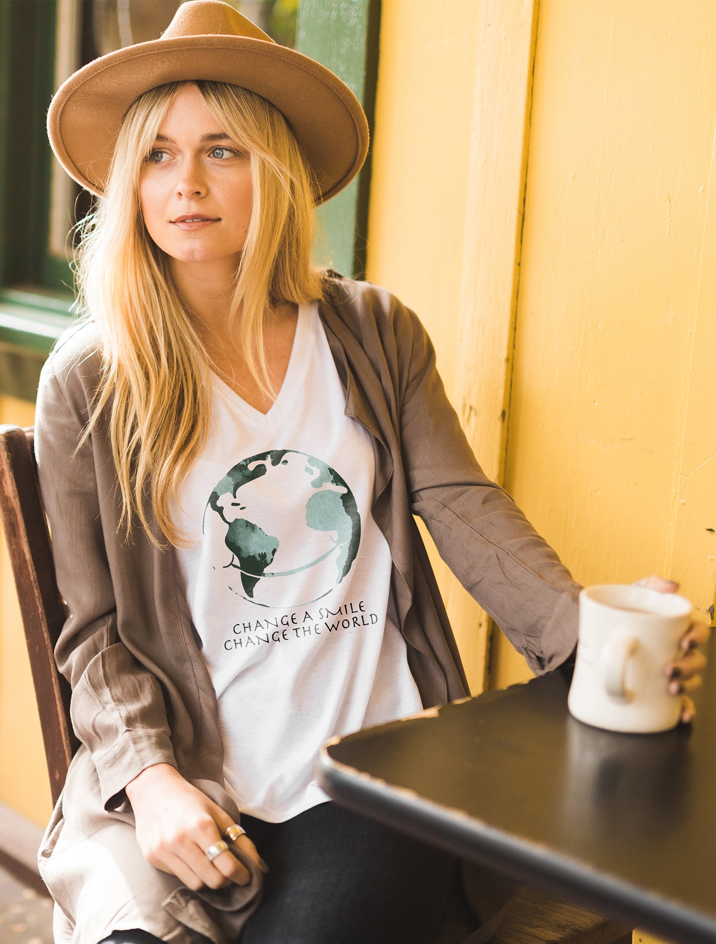 Change A Smile Change The World Women's White Flowy Vneck