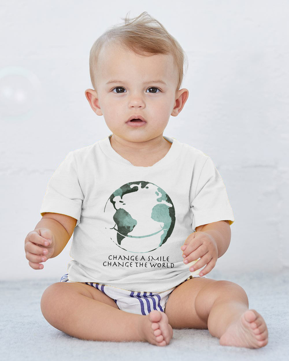 Change A Smile Change The World Baby Cozy Graphic Tee Onesie in White