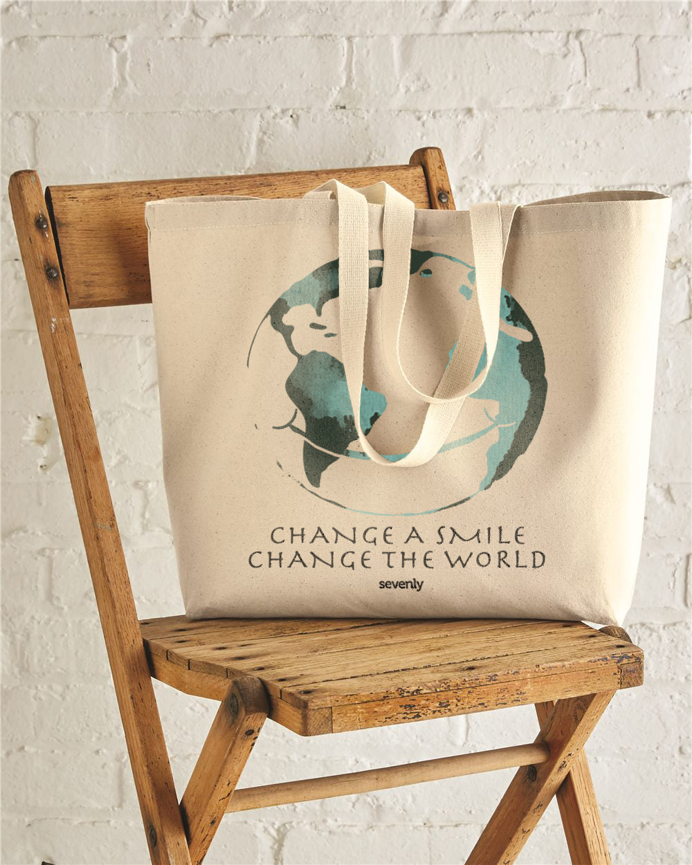 Change A Smile Change The World Jumbo Cotton Canvas Tote Bag