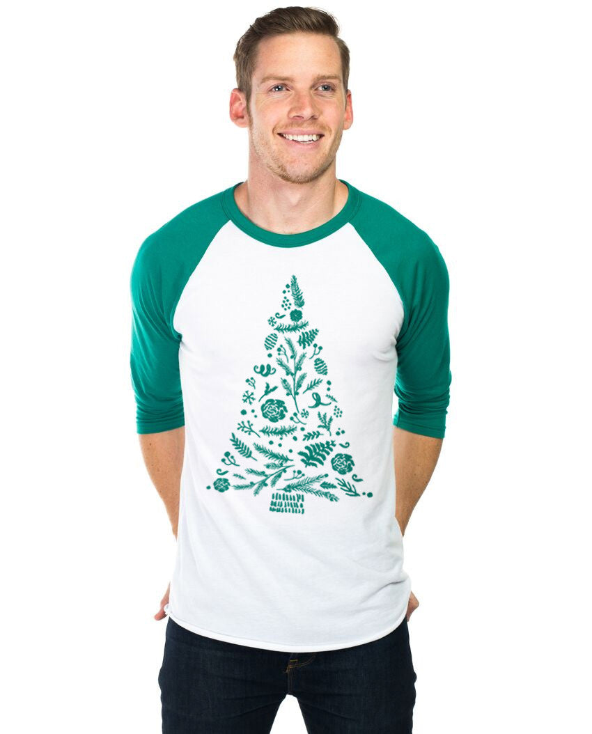 Christmas Tree Collage Unisex Baseball Tee