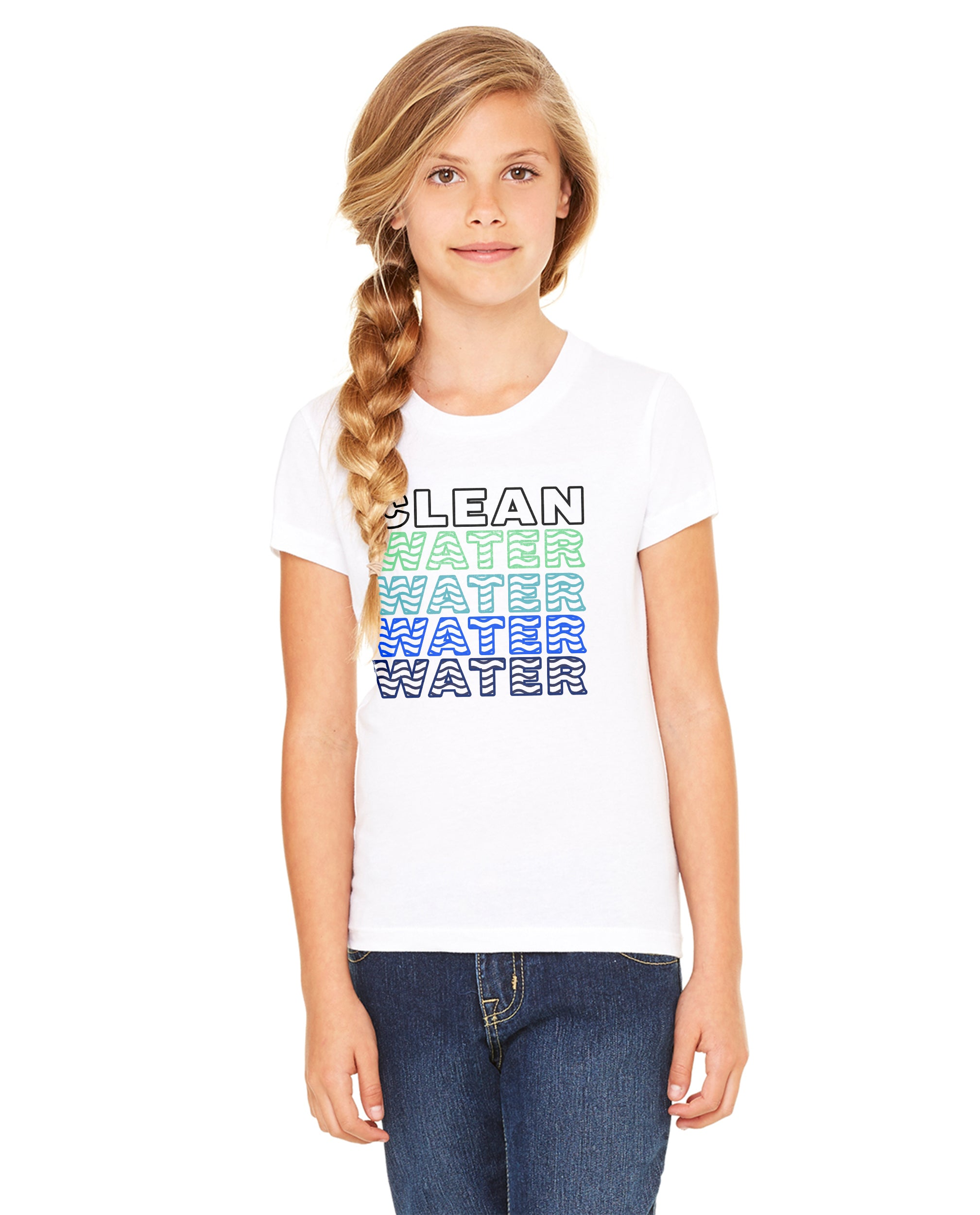 Clean Water Water Water Girls Premium Short Sleeve Crew