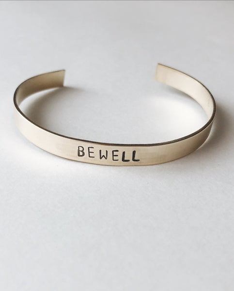 BE WELL Hand-Stamped Brass Cuff by Tech Wellness