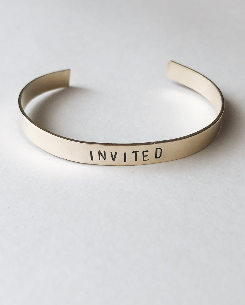 INVITED Hand-Stamped Brass Cuff by Tech Wellness