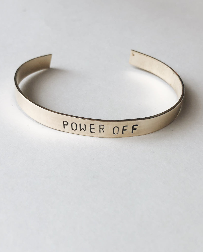 POWER OFF Hand-Stamped Brass Cuff by Tech Wellness