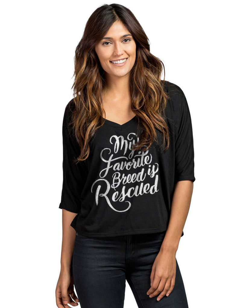 Favorite Breed Flowy Half Sleeve Cropped V Neck Tee