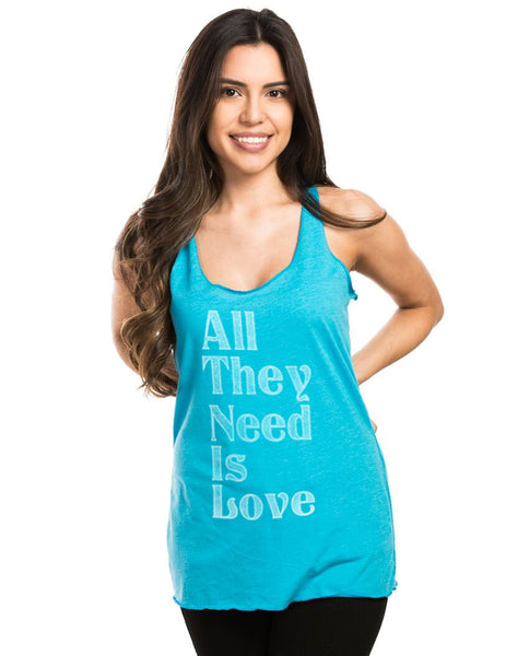 All They Need Is Love Triblend Racerback Tank