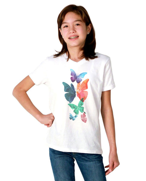 Watercolor Butterflies Youth Jersey Short Sleeve V Neck Tee
