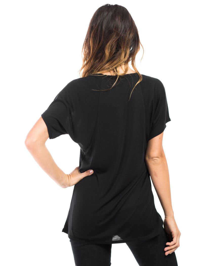 HOLD FAST Womens Black Flowy Raglan