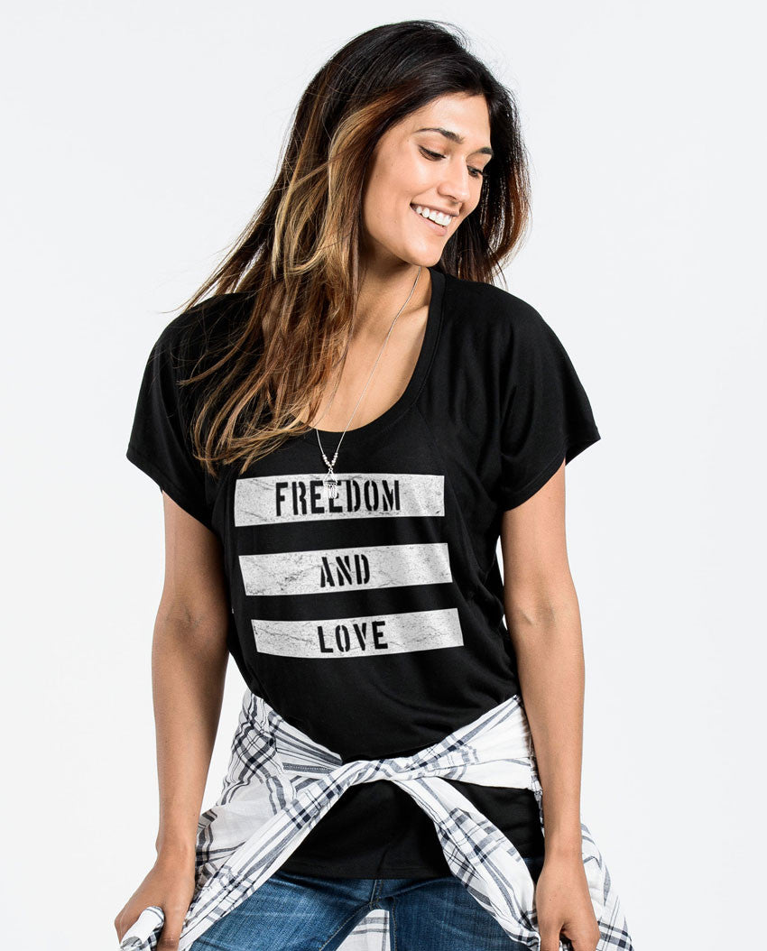 Freedom and Love Flowy Raglan