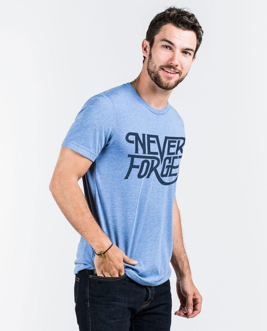NEVER FORGET Mens Blue Premium Fitted Tee