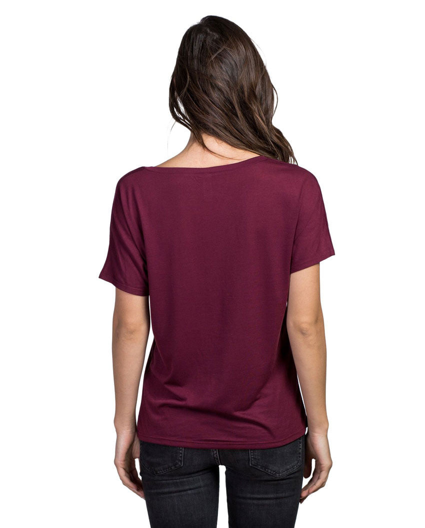 The Mountains Are Calling Flowy V Neck Maroon