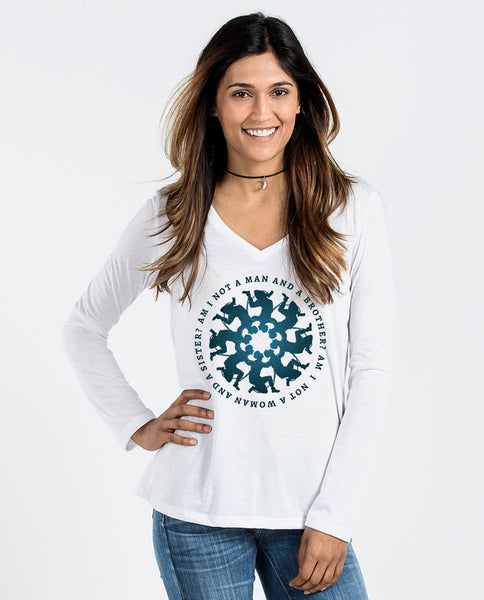 Abolitionist Medallion Flowy Long Sleeve V-Neck