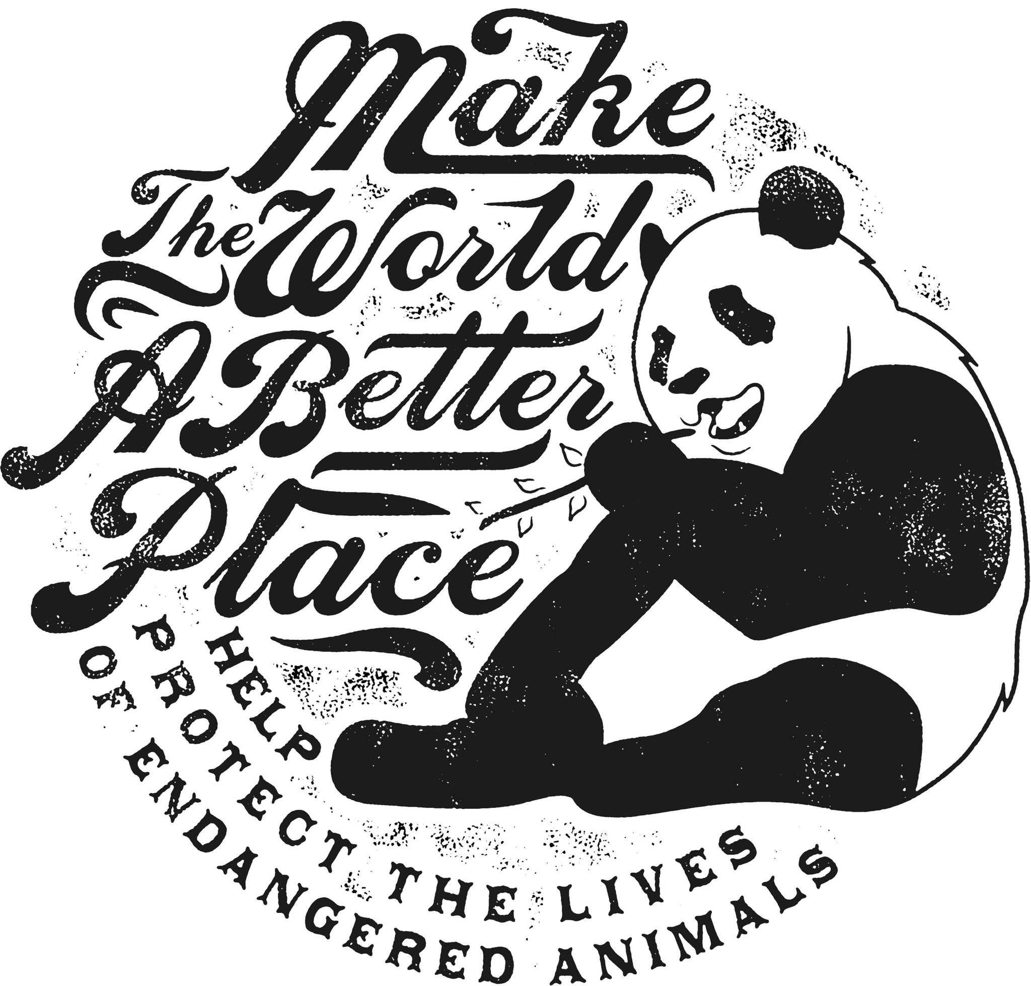 Make The World A Better Place Panda Jumbo Cotton Canvas Tote Bag