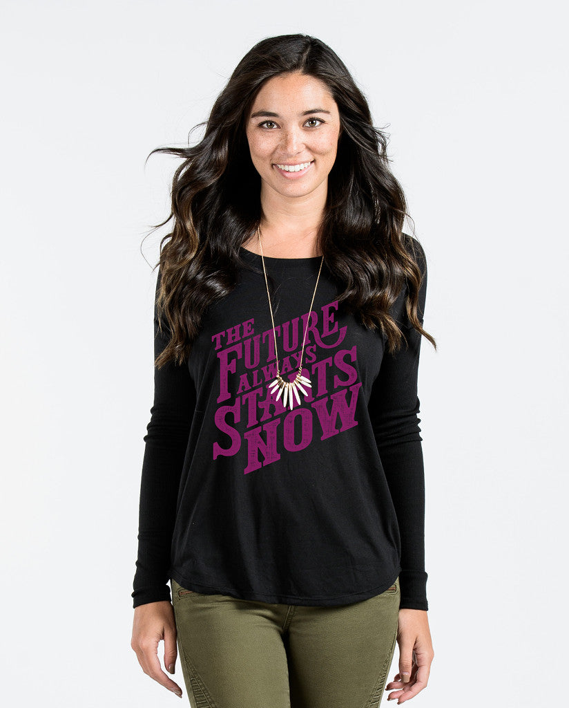 Future Always Starts Now Flowy Longsleeve T-Shirt