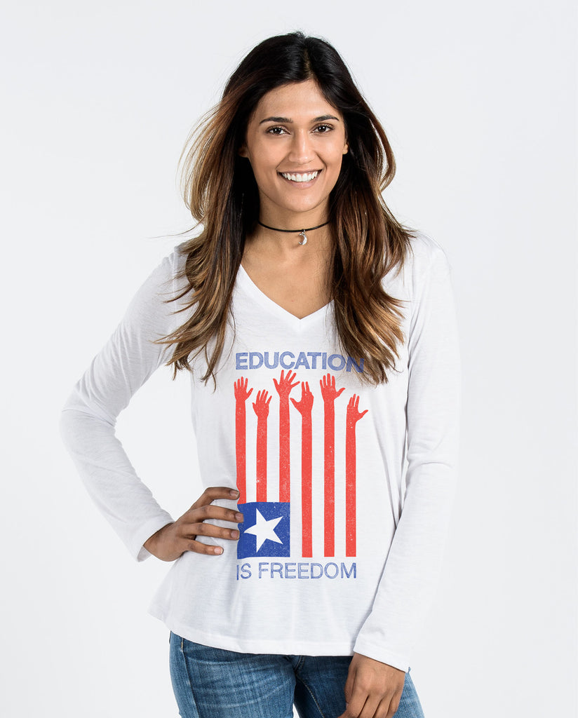 Education Is Freedom Flowy Long Sleeve V-Neck