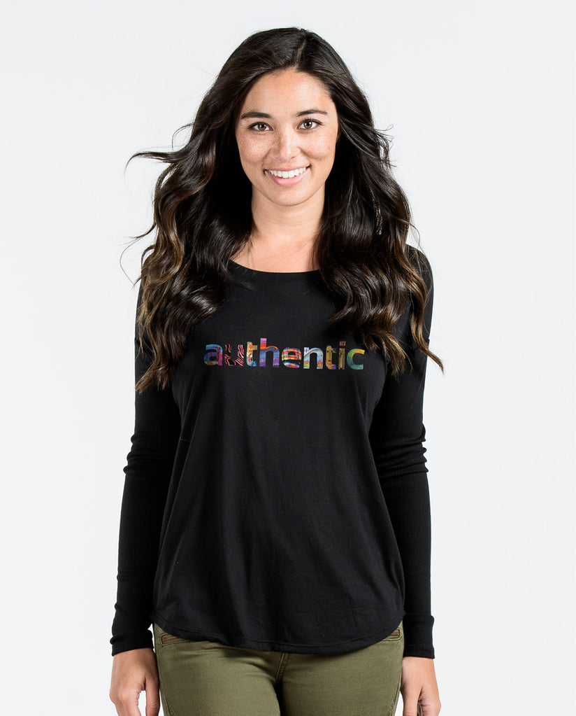 Authentic Black Flowy Long Sleeve Tee