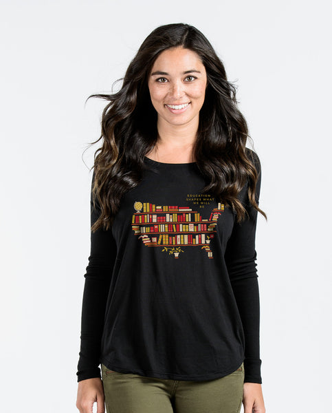 Education Shapes What Will Be Black Flowy Long Sleeve
