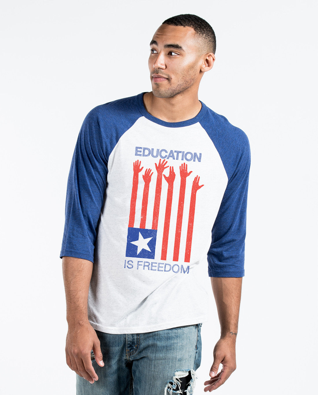 Education Is Freedom Unisex Quarter Sleeve Baseball Tee