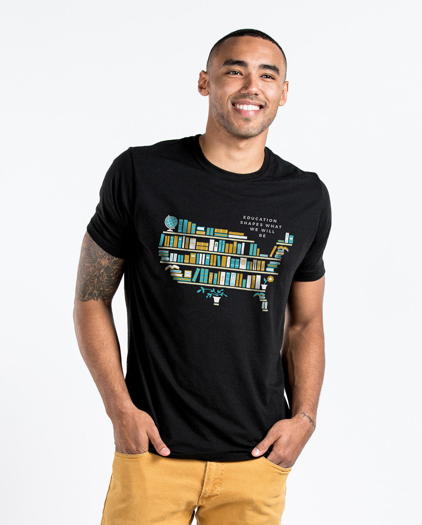 EDUCATION SHAPES WHAT WE WILL BE Mens Black Premium Fitted Tee