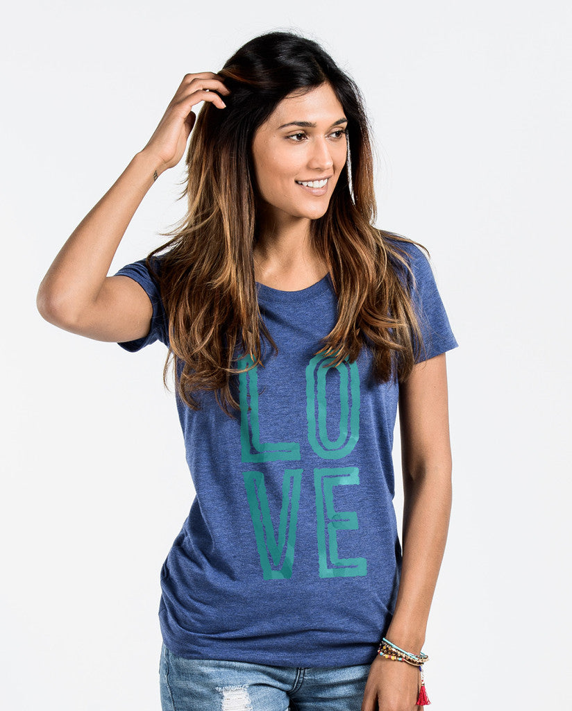 Love Blue Triblend Short Sleeve Tee