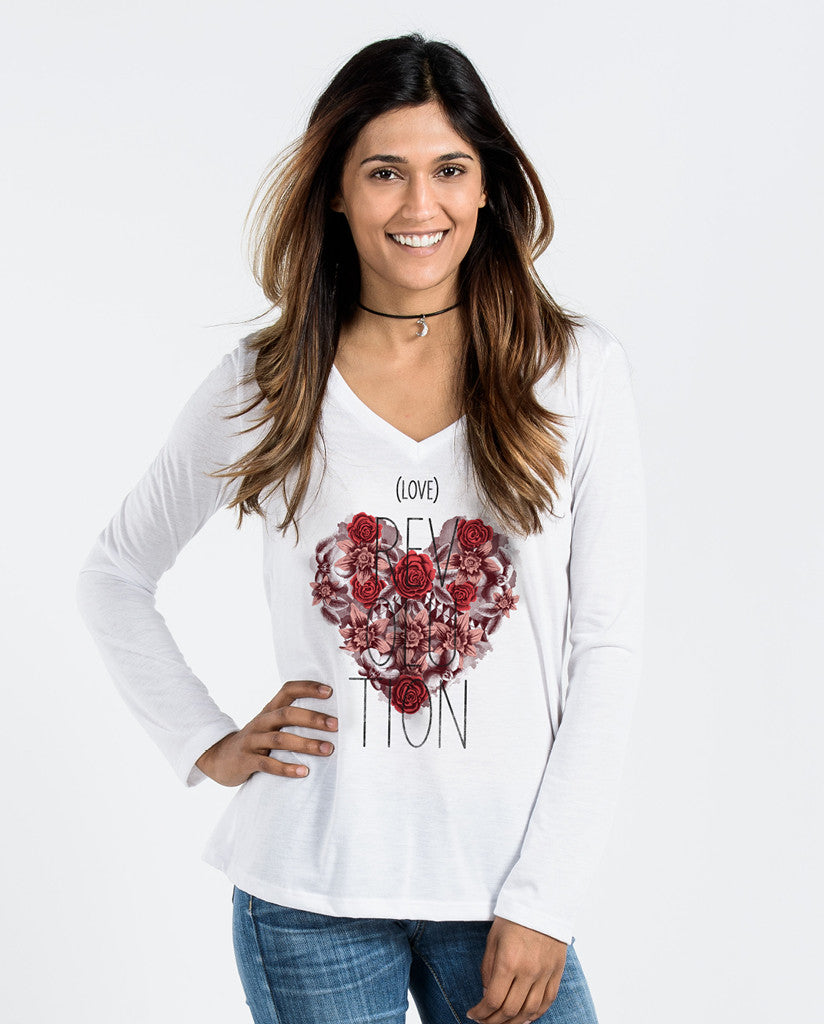 Love Revolution White Flowy Long Sleeve V-Neck