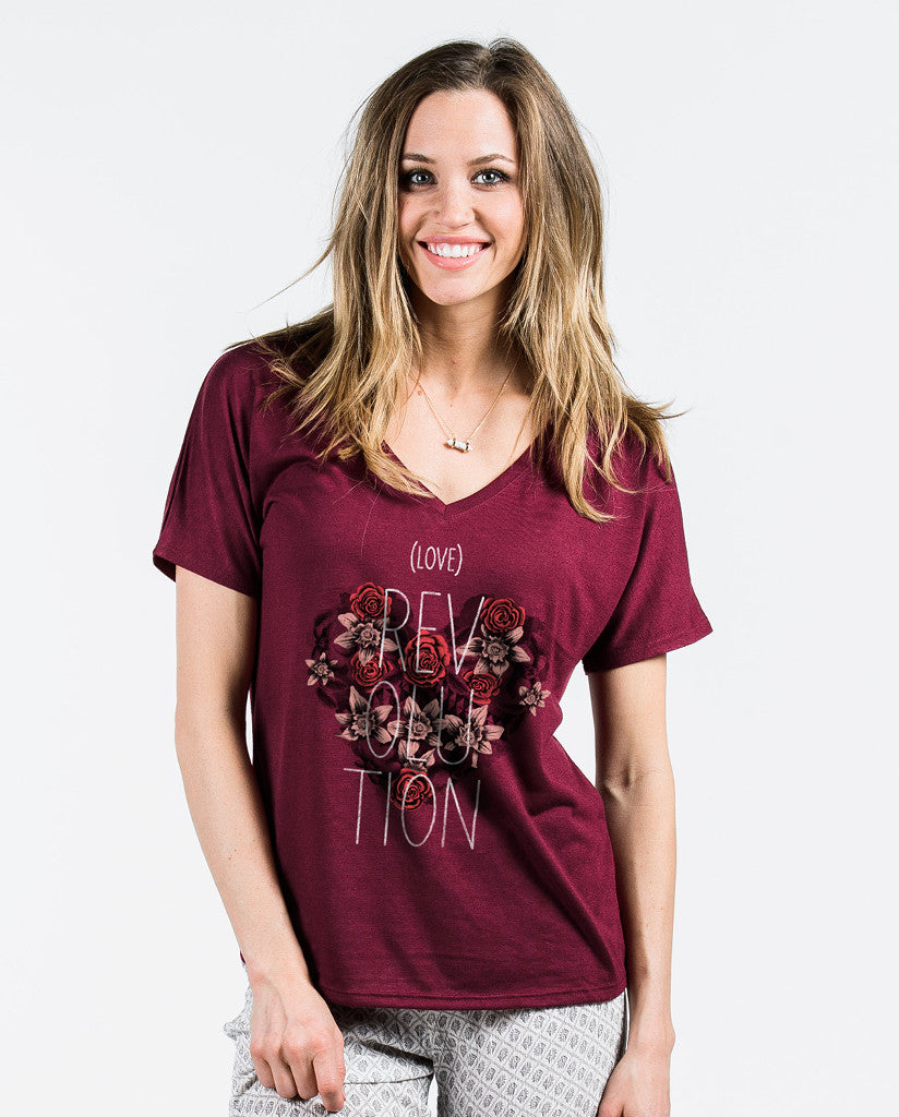 Love Revolution Maroon Flowy V Neck